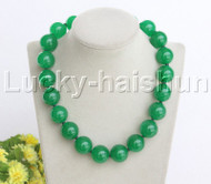 """AAA natural 18"""" 20mm round green jade string beads necklace j12472"""
