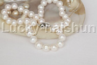 """natural 18"""" 11mm string round beads white freshwater pearls necklace j12474"""