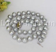 """natural 18"""" 11mm string round beads gray freshwater pearls necklace j12475"""