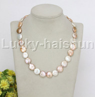 """natural 18"""" 14mm string coin fastener beads Multicolor pearls necklace j12476"""