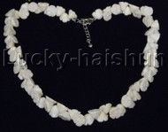 """AAA 17""""-19"""" 10mm flower carved white coral necklace 18KGP clasp j12506"""