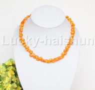 """AAA 17""""-19"""" 10mm flower carved yellow coral necklace 18KGP clasp j12508"""