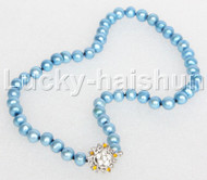 """17"""" 9mm round beads bule string freshwater pearls necklace 18KGP clasp j12684"""