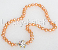 """17"""" 9mm round beads yellow string freshwater pearls necklace 18KGP clasp j12685"""
