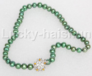 """17"""" 9mm round beads green string freshwater pearls necklace 18KGP clasp j12686"""