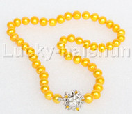 """17"""" 9mm round beads golden string freshwater pearls necklace 18KGP clasp j12687"""