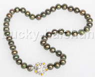 """17"""" 10mm round beads dark green string freshwater pearls necklace 18KGP clasp j12688"""