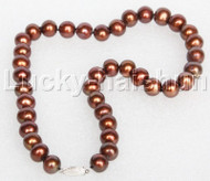 """17"""" 12mm round coffee freshwater pearls beads string necklace 14K clasp j12689"""