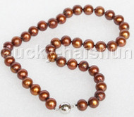 """17"""" 10mm round coffee freshwater pearls beads string necklace magnet clasp j12690"""