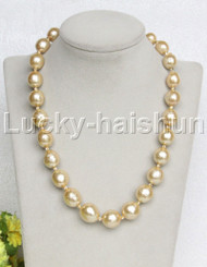 """huge 19"""" 16mm golden Painted fresh water pearl necklace leopard clasp j12694"""