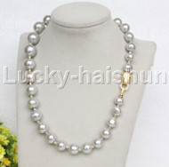 """huge 19"""" 16mm gray Painted fresh water pearl necklace leopard clasp j12695"""
