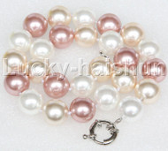 """18"""" 16mm white pink yellow south sea shell pearls necklace 18KGP clasp j12696"""