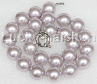 """Genuine 18"""" 16mm lavender south sea shell pearls necklace 18KGP clasp j12699"""