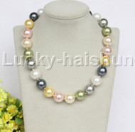 """Genuine 18"""" 16mm Multicolor MIX south sea shell pearls necklace 18KGP clasp j12701"""