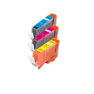 3-Pack COLOR CMY Compatible Ink w/ Chip for Canon CLI-221