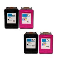 4-Pack (2BK+2C) HP #60XL Hi-Yield Ink Cartridges - Remanufacture