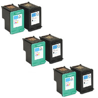 6-Pack (3xBlack+3xColor) HP 92+93 Ink Cartridges - Remanufacture