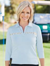 Evelyn Three Quarter Sleeve Polo Shirt