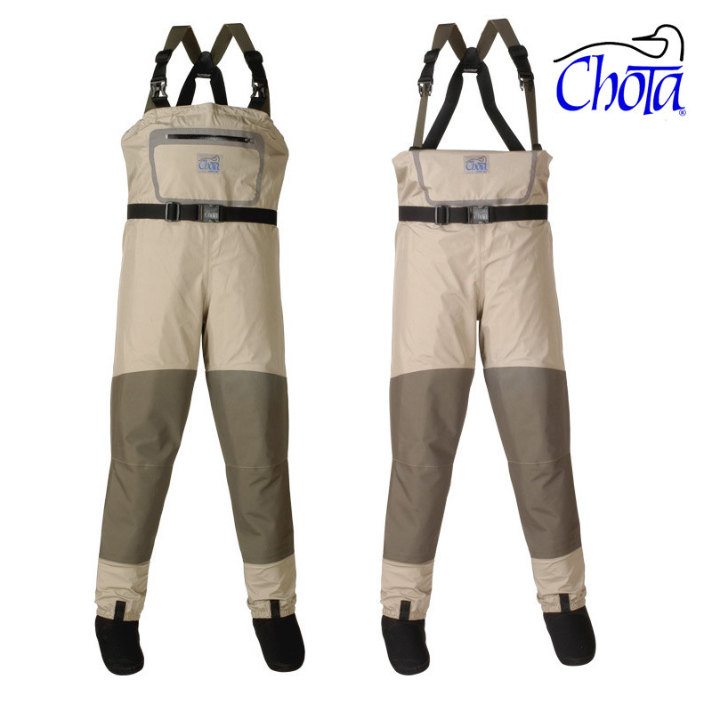 Chota Bob Clouser Series South Fork Wader Shown With Top in Up and Down Positions.