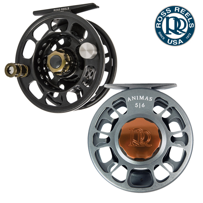 Ross Animas Fly Fishing Reels Shown in Stealth Black and Granite.
