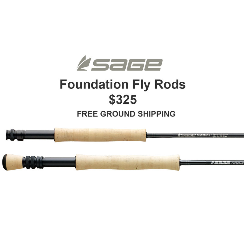 Sage Foundation Fly Rods Closeup of Butt Sections, Sage Logo, Price and Free Ground Shipping