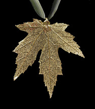 Silver Maple Leaf Ornament - Gold