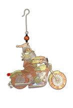 Motorcycle Santa Ornament - P0960