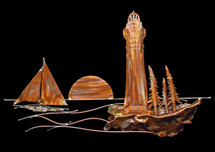 Copper Lighthouse Scene Wall Hanging