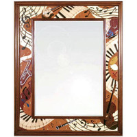 "Hudson River Inlay Jammin' 40"" x 32"" Wood Inlay Mirror"
