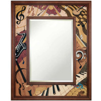 "Hudson River Inlay Groovin' 31"" x 25"" Wood Inlay Mirror"