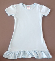 Girls Aline Short Sleeve Dress-Light Blue