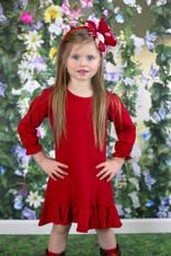 A-Line Long Sleeve RED Dress