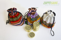 Each Official Sapo Game comes with an unique, colorful Coin Bag, handmade from Inca peruvian fabric.