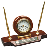 Rosewood Piano Finish Desk Clock with 2 Pen Set