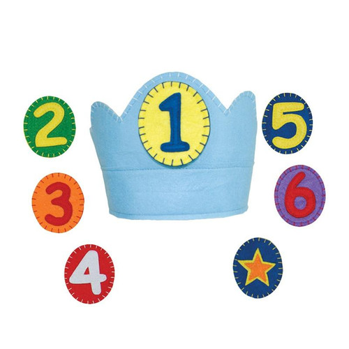 Crown with velcro closure for adjustable fit.  The numbers 1-6 attach with velcro.   Plus a star for anyday play and after 6 years old. Wearing this crown each year will surely be an annual tradition poly felt, made in China