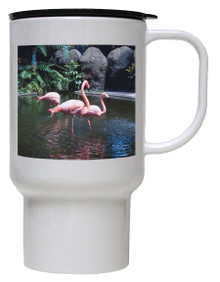 Flamingo Polymer Plastic Travel Mug