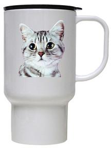 American Shorthair Cat Polymer Plastic Travel Mug
