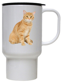 Tabby Cat Polymer Plastic Travel Mug
