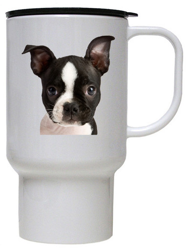 Boston Terrier Polymer Plastic Travel Mug