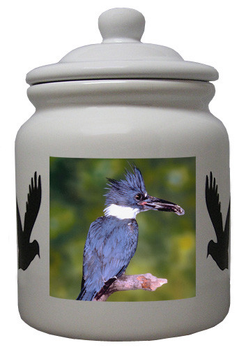 Belted Kingfisher Ceramic Color Cookie Jar