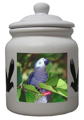 African Grey Parrot Ceramic Color Cookie Jar