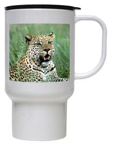 Leopard Polymer Plastic Travel Mug