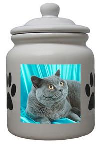 British Shorthair Cat Ceramic Color Cookie Jar