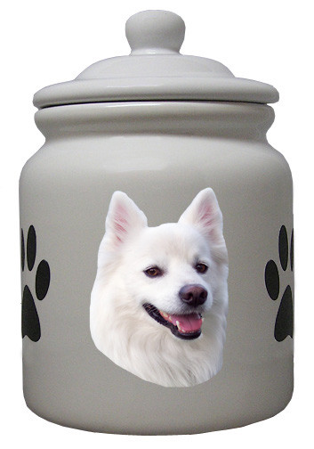 American Eskimo Dog Ceramic Color Cookie Jar