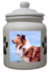 Collie Ceramic Color Cookie Jar