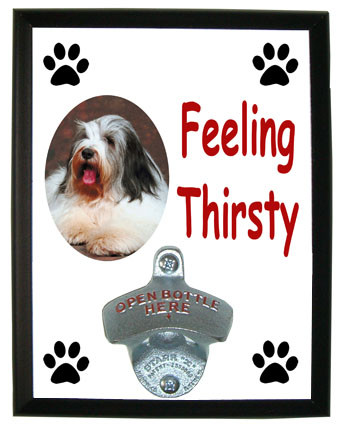 Bearded Collie Feeling Thirsty Bottle Opener Plaque
