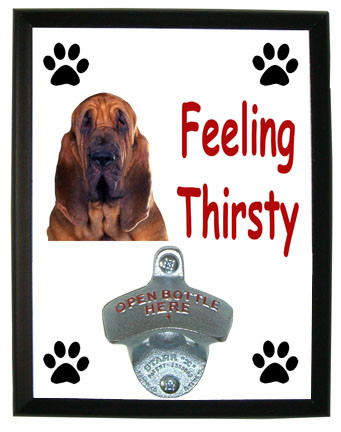 Bloodhound Feeling Thirsty Bottle Opener Plaque