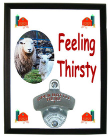 Lamb Feeling Thirsty Bottle Opener Plaque
