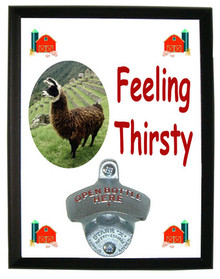 Llama Feeling Thirsty Bottle Opener Plaque