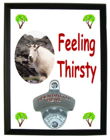Mountain Goat Feeling Thirsty Bottle Opener Plaque